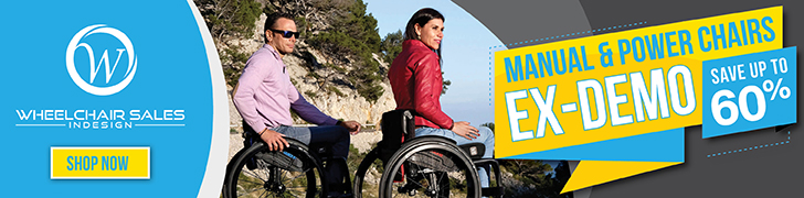 Advertisement from Wheelchair Sales Indesign with text saying ex-demo manual and power chairs on sale for up to 60 percent off. Click through to go to advertisers website and shop now.