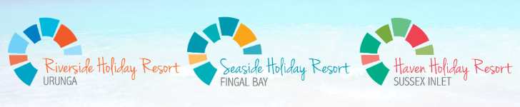 Image containing three logos for the Riverside Holiday Resort locations. The first location is Urunga, the second Fingal Bay and the third Sussex Inlet.